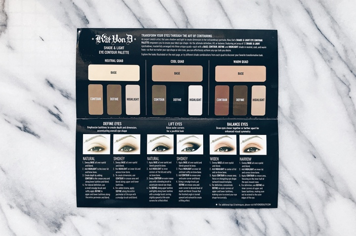kat von d shade & light eye palette pamphlet
